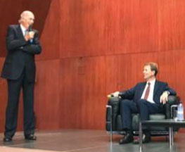 Da sinistra: Giorgio Berner, presidente Swiss Chamber e Fritz Zurbrügg, vicepresidente Banca nazionale svizzera.